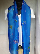 Women Fashion Thai Artist Hand Painted 100% Silk Long Scarf Wrap/Shawl