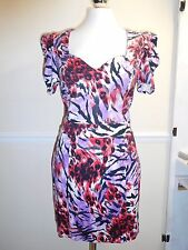 NEXT RUNAWAY COLLECTION PURPLE, RED BLACK SHIFT DRESS SIZE UK 16