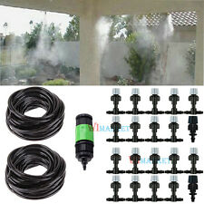 66FT Garden Outdoor Home Misting Cooling Irrigation System W/20 Mist Nozzle Set