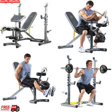 Home Weight Lifting Bench Machine Press Exercise + Weights Rack Fitness Workout