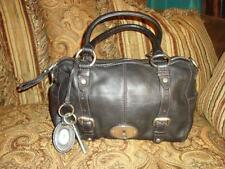 Black Pebbled Leather Fossil Maddox Reissue Satchel