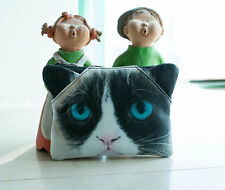 Grumpy Cat Cosmetic Bag with 3D ears Make up Bag  Purse Cat Lovers Little Gift