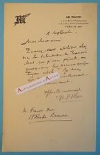 L.A.S Pierre Paul PLAN Entête du journal LE MATIN bd Poissonnière Autographe MOS