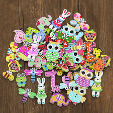 50Pcs Mixed Cartoon Animal Wooden Buttons Sewing Craft Scrapbooking DIY Popular