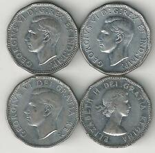 4 OLDER 5 CENT COINS from CANADA (1944, 1945, 1952 & 1953)