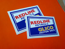 REDLINE PETROLS GLICO MOTOR OILS Retro Vintage Stickers Decals 2 off 100mm