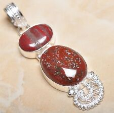 """Handmade Natural Bloodstone Jasper 925 Sterling Silver Pendant 2.5"""" #P10667"""