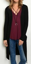 Long Sleeve Open Front Ribbed Cardigan/Cover-Up Tunic Top w/ Pockets S M L Black