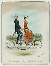 RARE Card with Early Tandem Velocipede Bicycle ca 1880s - Raphael Tuck - Color
