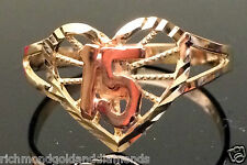 14k Rose & Yellow Gold Sweet 15 Birthday Heart Quinceanera Ring Band Right hand