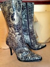 Shelly's Stunning Jigsaw Design Leather Zip Up Boots Size UK 7