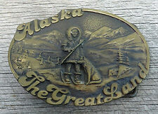 Alaska The Great Land Eskimo Dog Vintage Belt Buckle