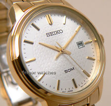 SEIKO WOMAN QUARTZ GOLDEN DATE WHITE FACE STAINLESS STEEL 50 m SUR744P1