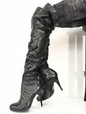 Jeffrey Campbell ISSUE Boots Black Spike Heel Stiletto Thigh High 9