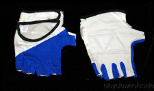 Leather & Spandex White & Blue Large Cycling Gloves NEW!