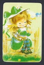 #915.227 Blank Back Swap Cards -MINT- Girl in green dress