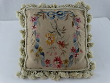 "Needlepoint Pillow-Trimmed With Tassel Fringe-Down Filled-16"" Square Cream Color"