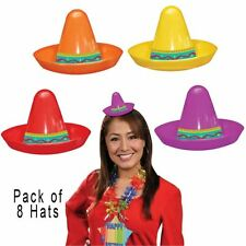 8 MINI MEXICAN SOMBRERO HATS Fiesta BBQ Summer Party Fancy Dress Accessory 57183
