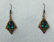 SMALL ART NOUVEAU STYLE GREEN GLASS DARK GOLD PLATED EARRINGS V119G HOOK