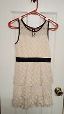 Girls Size L 10/12 Sally M Beige Polka Dot Tiered Lace Dress