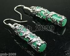 Pretty Imperial Inlay Natural Green Jade Dragon 925 Sterling Silver Earrings