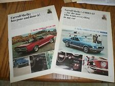 FORD MUSTANG SHELBY COBRAS GT 350/500 Fastback Convertible ADs (2) SALES