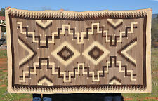 LARGE OLD NAVAJO RUG-  SOFT NATURAL BROWN & CREAM WOOLS -  DOUBLE DIAMOND