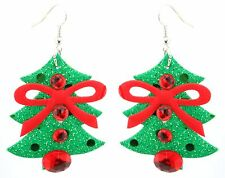 Zest Christmas Tree Earrings with Beads & Bow for Pierced Ears Red