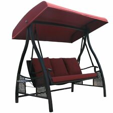Outdoor Swing Canopy Hammock Seats 3 Patio Deck Furniture with Cushion,Red