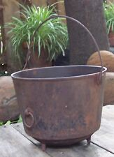 ANTIQUE CAST IRON CAULDRON FIREPLACE HEARTH KETTLE COOKING 3 FEET NO PAINT