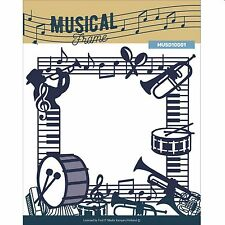 "Trouvez-il media musical cadre 5 x 5"" die set avec notes musicales & instruments"