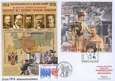 """T Maxi FDC AUSTRIA-FRANCE """"Attack in Sarajevo, 100 years Great War 1914-18"""" 2014"""