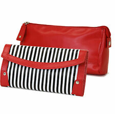 Bucasi Personal Travel Jewelry Roll with Costmetic Jewelry Case Striped