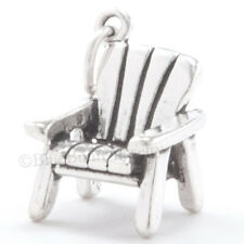 3D BEACH CHAIR Adirondack Sterling Silver Pendant Sun Fun Ocean Charm Solid 925