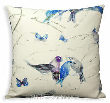 Chivasso Birds Designer Fabric Cushion Pillow Cover Blue Lilac Grey Linen
