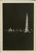PHOTO ANCIENNE - VINTAGE SNAPSHOT - PARIS PLACE CONCORDE OBÉLISQUE NUIT LUMIÈRE