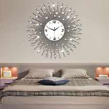 LUXURY Modern diamante beaded jeweled sunburst metal spikes silver wall clock UK