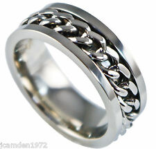 Spinner mens Wedding band white gold ion platined 316L size 10