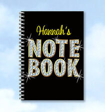 Personalised A4 Notebook Diamante design - any Name and text