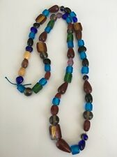"""Vintage handmade glass beads Wood colorful-30"""" Necklace (M148)"""