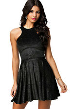 Abito Velluto gonna top nudo aperto Cerimonia Party Ballo Stras Skater Dress L