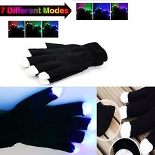 Flashing Gloves Glow 7 Mode LED Rave Light Finger Lighting Mitt Black Xmas Gift