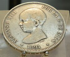 1891 PG-M Spain Silver 5 Pesetas, Old World Silver Coin