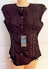 NWT Rock 47 Wrangler black sleeveless laced sides cotton shirt blouse size M