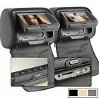 "Pair 2x 7"" HD Car Gray Headrest Digital Monitor DVD Player Pillow USB SD IR FM"