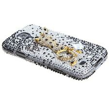 Samsung Galaxy S4 i9500 - 3D DIAMOND PEARL BLING HARD CASE GOLD CHEETAH LEOPARD
