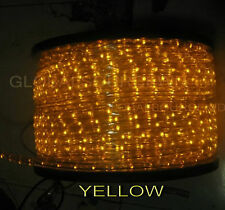 """150' FEET LED Rope Lights YELLOW Color 1/2"""" /13MM 1656 LEDs With Accessories"""
