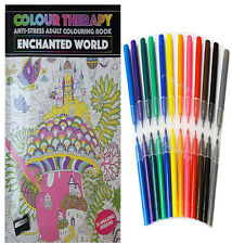 NEW COLOUR THERAPY ANTI STRESS ADULT COLOURING BOOK PLUS 24 FELT TIP PENS.