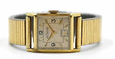 VINTAGE LECOULTRE SQUARE 14K YELLOW GOLD 17J MENS WATCH c1940