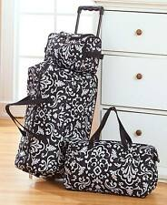 3 Pc Fashion Luggage Set BLACK DAMASK Rolling Suitcase Duffel Tote Bag & Clutch